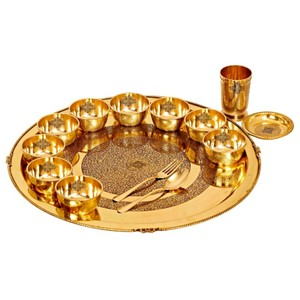 Indian art villa brass embossed 14 piece dinner thali set