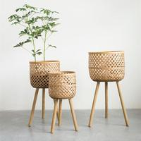 Modern design bamboo flower pot plant pot 100% natural bamboo basket woven