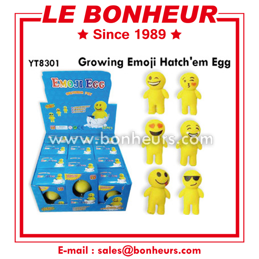 New Novelty Toy Figure Magic Growing Emoji Hatch Egg