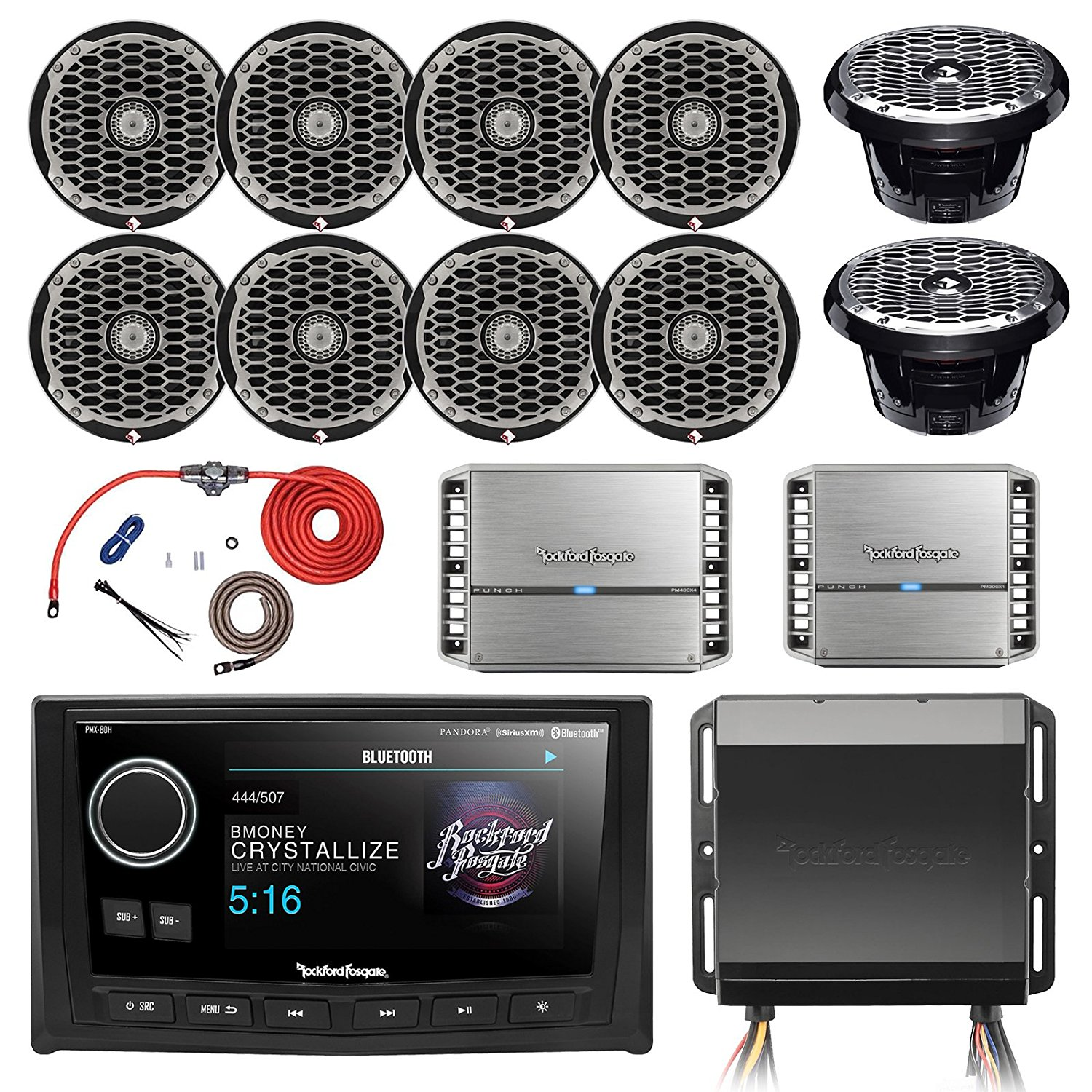 Cheap 400w Amplifier Kit Find Deals On Line At Rockford Fosgate Amp Wiring Get Quotations Hide Away Am Fm Receiver Wired 5 Display Head Unit