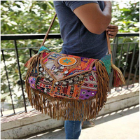 Handbag Banjara Colorful Fashion Tribal Embroidery Lather Tassel And Coin Work Shoulder Bag