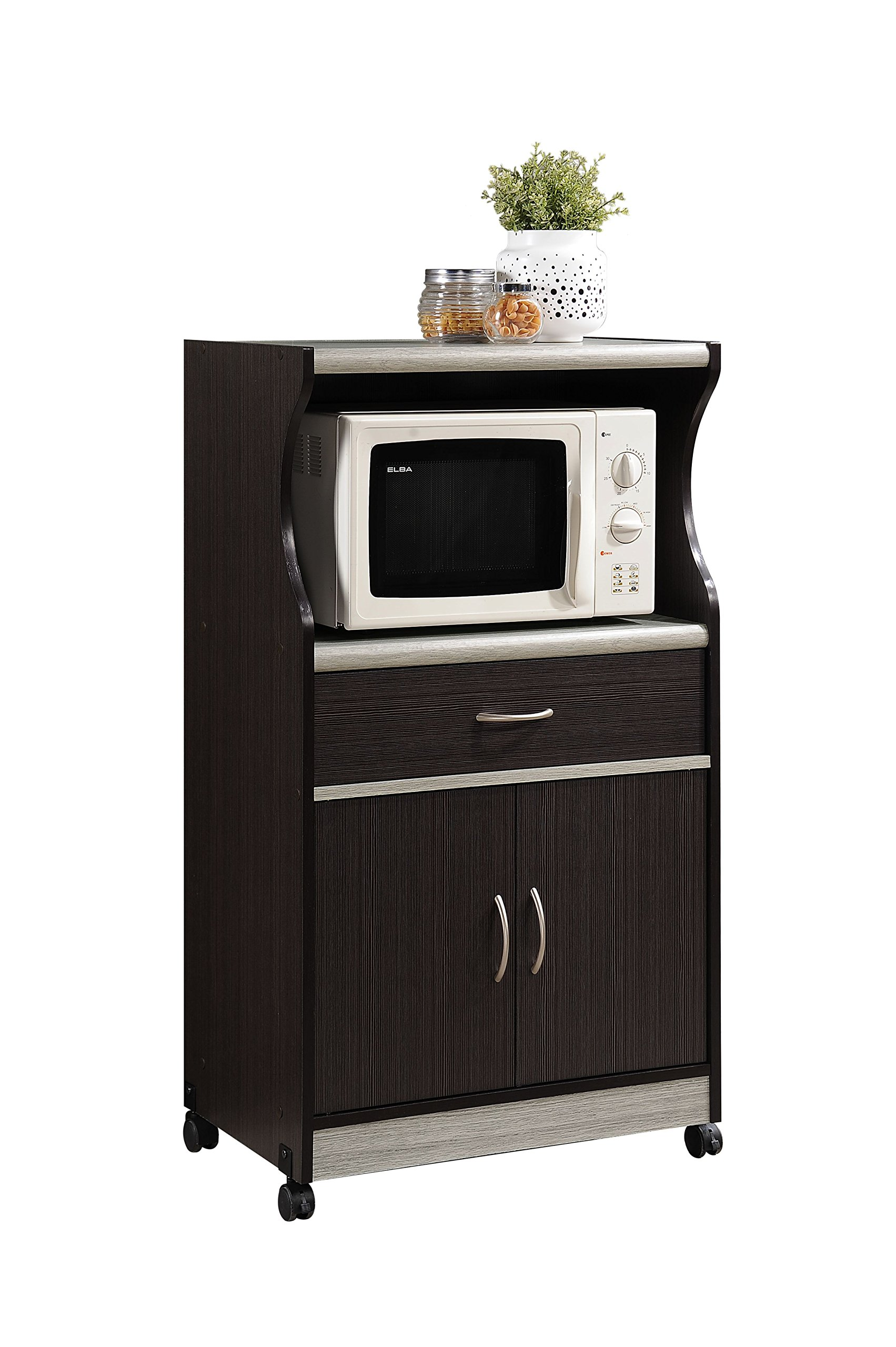 Get Quotations Hodedah Microwave Cart With One Drawer Two Doors And Shelf For Storage Chocolate