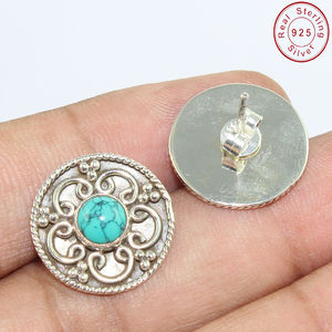 2017 new accessories turquoise jewelry stud earring wholesaler silver jewelry 925 silver earring silver earring