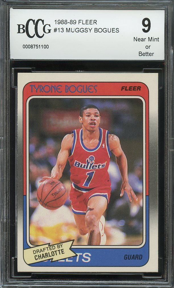 90ff9871334 Get Quotations · 1988-89 fleer  13 MUGGSY BOGUES washington bullets rookie  card BGS BCCG 9 Graded