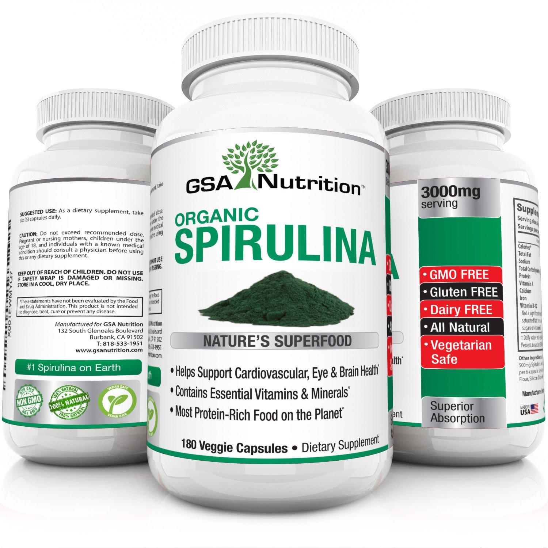 Organic Spirulina 180 Veggie Capsules | 3000mg | Extra Strength | Gluten Free | Non - GMO