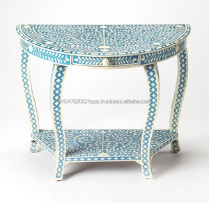 Blue Bone Inlay half Round console Table