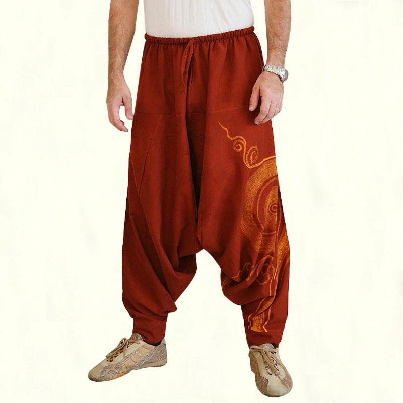 Винтажные Свободные мешковатые брюки для косплея традиционный принт тайский холм племя тканевые мужские шаровары с ремешком на щиколотке в средневековом стиле мужские