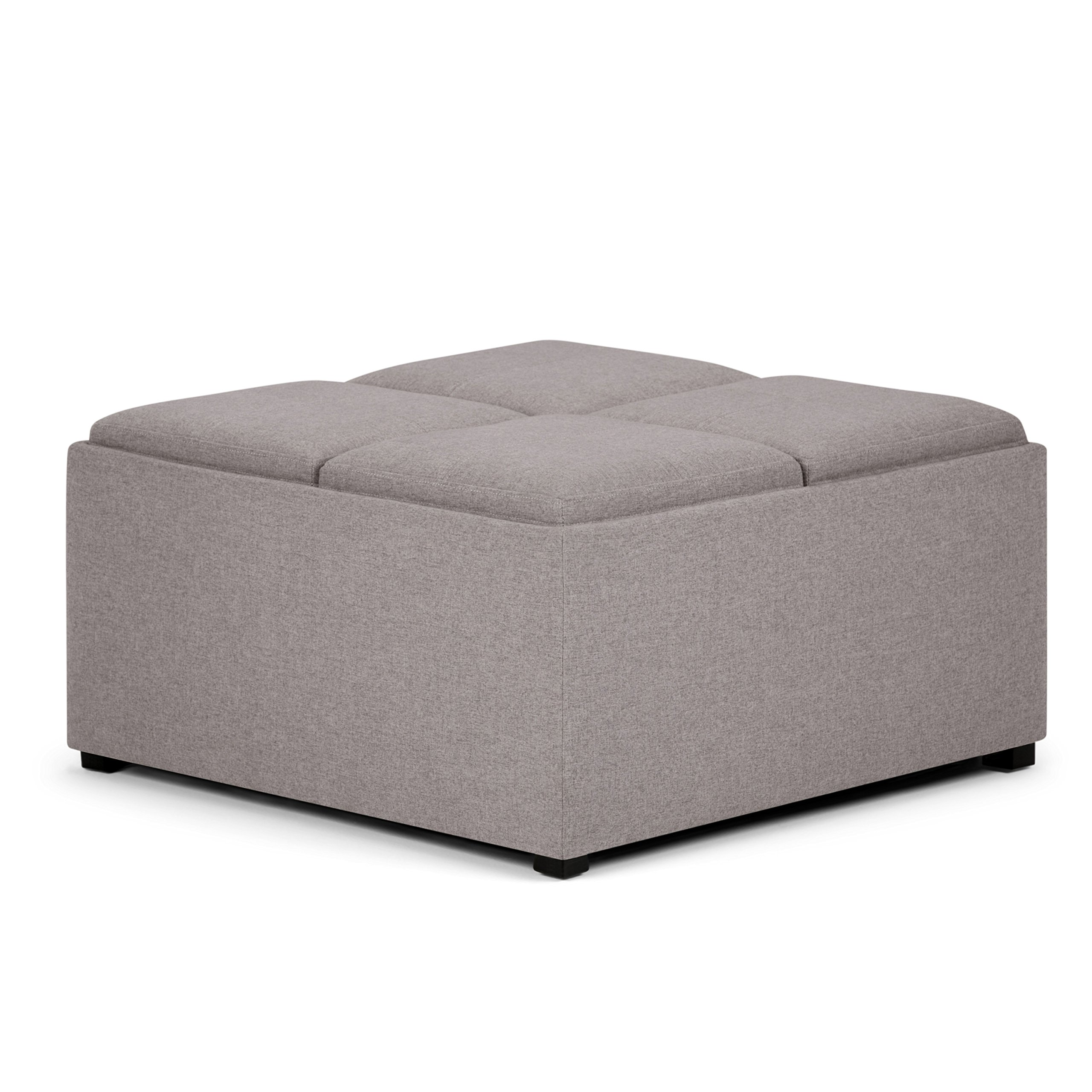Get Quotations · Simpli Home Avalon Coffee Table Storage Ottoman With 4  Serving Trays, Cloud Grey