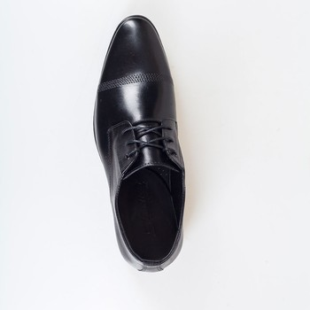 Cow Leather men shoes with sheepskin lining, black color leather men shoes