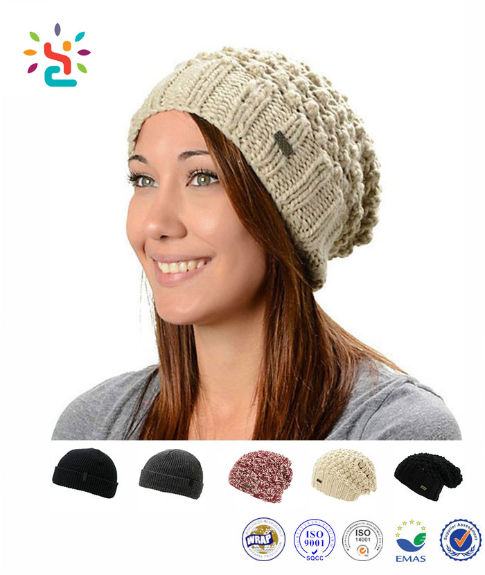 2017 Womens Winter Hat Warm Cuff Plain Wool Slouchy Knit Beanie Caps  straight needle knit hat patterns 3c7c7ece5a7