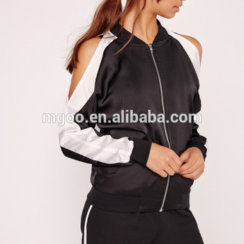 Women Sexy Open Shoulder Satin Bomber Black Sport Style Jacket With US Size Baseball Coat For Autumn