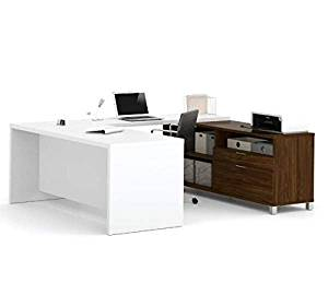"Bestar U-Shaped Desk 71 1/8""W X 89""D X 29 3/4""H Made Of Durable 1.5"" & Credenza Durable 1""Commercial Grade Work Surface W/Melamine Finish - White & Oak Barrel"