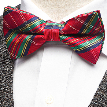 Custom Classics Adjustable Pre-Tied Bow Ties for Men Boys Red Plaid Polyester Jacquard Tie