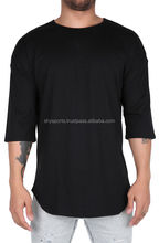 Mens Drop Shoulder Loose Fitting Cotton Tshirts/ Curved Hem 3/4 Sleeves/ Custom Design