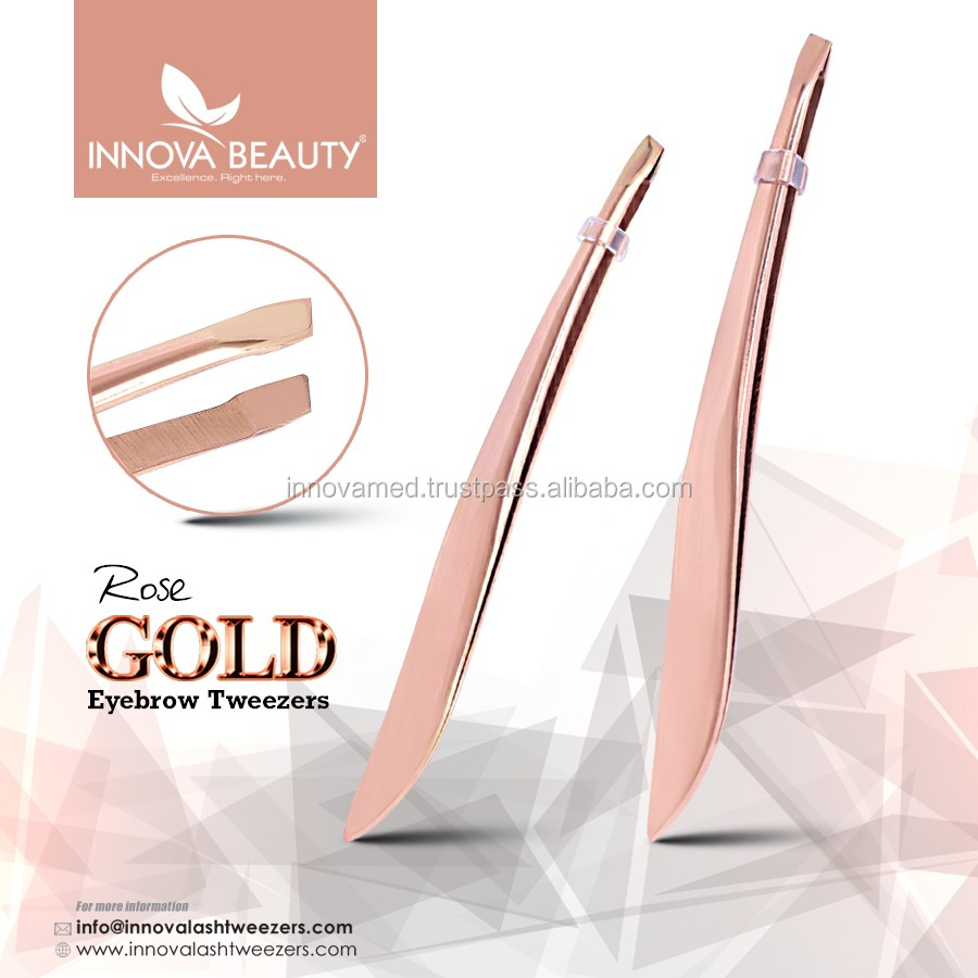Rose Gold Plasma Plated Eyebrow Tweezers/ Rose Gold Manicure Eyebrow Tweezers/ Best Eyebrow Tweezers