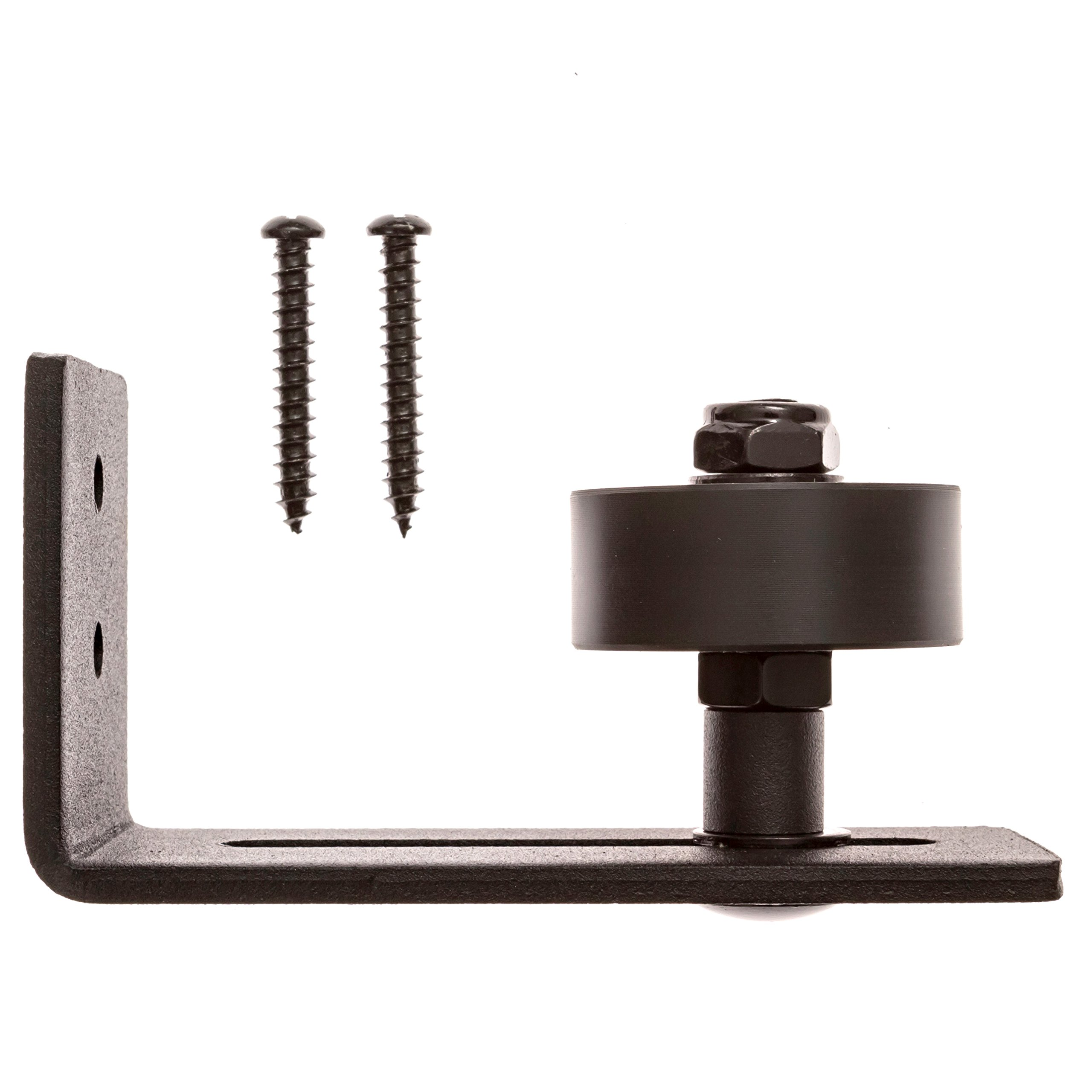 Adjustable Floor Guide for Sliding Barn Door - The Stay Roller Guide Sits Flush with Floor and Includes Ball Bearing for Smooth Roll, Screws for Installation, and Premium Quality Black Powder Coating