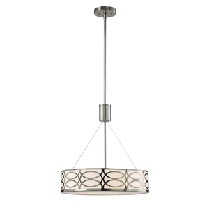 Modern Nordic Contemporary Industrial Iron Chandelier Brushed Nickel Hollow Diffuser Drum Circle Acrylic Pendant Light Fixture