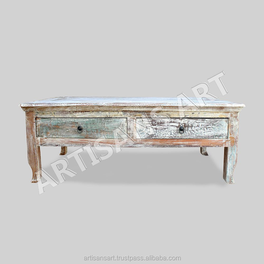 Whitewashed Reclaimed 2 Drawers Coffee Table Hand Finished Antique White Washed White Distressed Wooden Indian Furniture Buy Coffee Table Wooden Coffee Table Coffee Table With Drawers Product On Alibaba Com