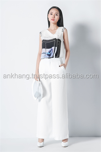 Girls fashion white palazzo pants