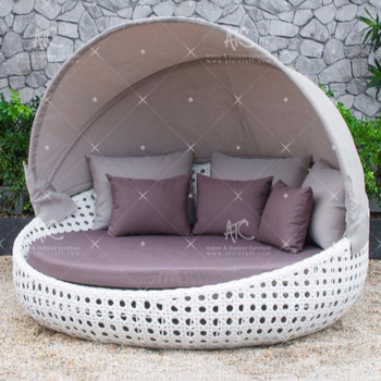 Modern Poly Rattan Wicker Patio Round Lounger With Canopy Outdoor Furniture