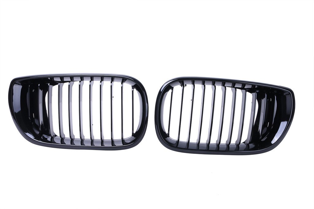 Jade Onlines 2 Pcs Front Grills Kidney Grille Hood for BMW E46 4D LCI Facelift 2002-2005 Gloss Black