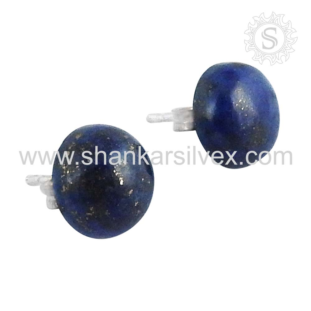 Woman essential lapis studs earring silver jewelry 925 sterling silver gemstone earrings handmade jewelry exporter
