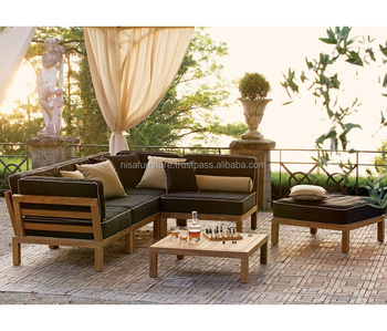 Outdoor Teak Wood Corner Sectional Sofa Sets