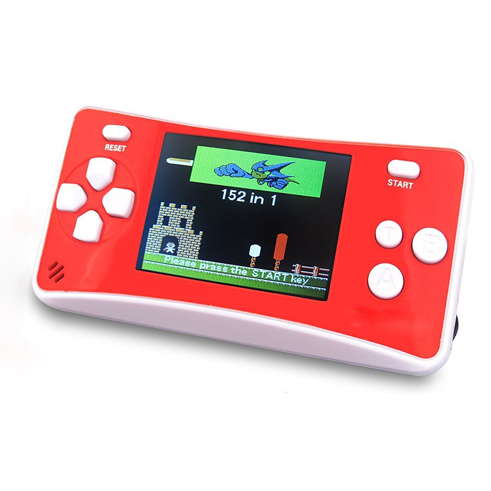 """JJFUN RS-1 Handheld Game Console for Children,Retro Game Player with 2.5"""" 8-Bit LCD Portable Video Games,The 80's Arcade Video Gaming System,Built-in 152 Classic Old School Games Entertainment-Red"""