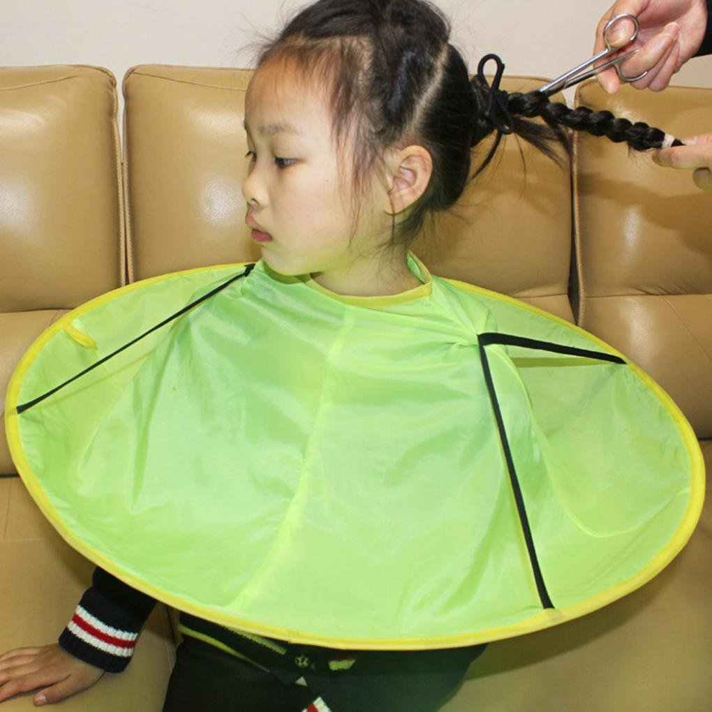 Hairdresser Cloak, AMA(TM) Kids Child Hairdressing Hair Cutting Gown Umbrella Waterproof Hair Salon Cape Collar Haircut Apron (D)