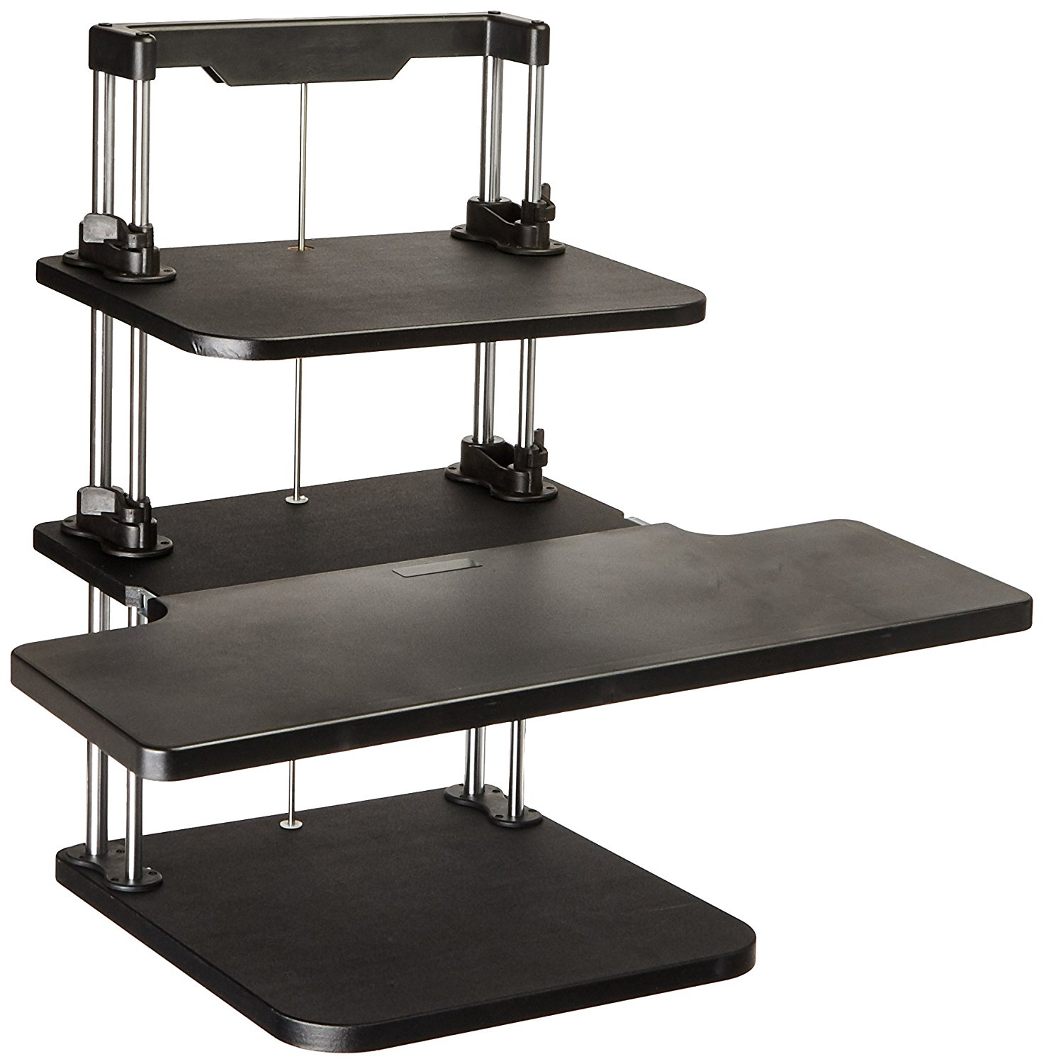 Pyle Sit Stand Desk, Height Adjustable Stand Up Desk, Computer/Laptop Stand Up Computer Workstation W/2 Adjustable Shelf Trays, Free Standing Desk - Black Finish (PSTNDDSK36)