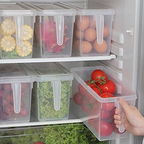 2 PCS Refrigerator and Freezer Stackable Storage Organizer Bins with Handles, Large Plastic Fridge Containers for Home Kitchen and Pantry Cabinet Storage Organization,Clear