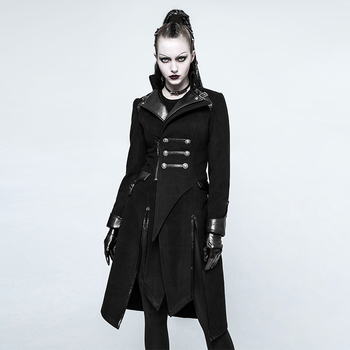 Punk Rave Women's black military style asymmetrical long coat Y-791
