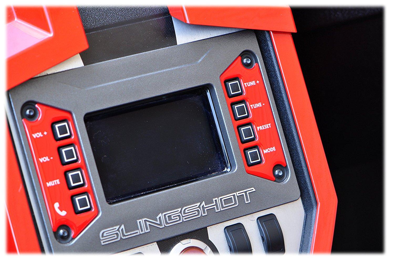 Polaris Slingshot Bezel Inserts White Black Black Gloss Red Brushed Aluminum TUFSKINZ