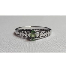 92.5 sterling silver ring in white gold plated with semi-precious stone