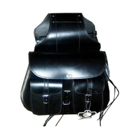 HMB-4040A LEATHER MOTORCYCLE SADDLE BAGS SET POCKETS STYLE STRAIGHT TRAVEL LUGGAGE BAG