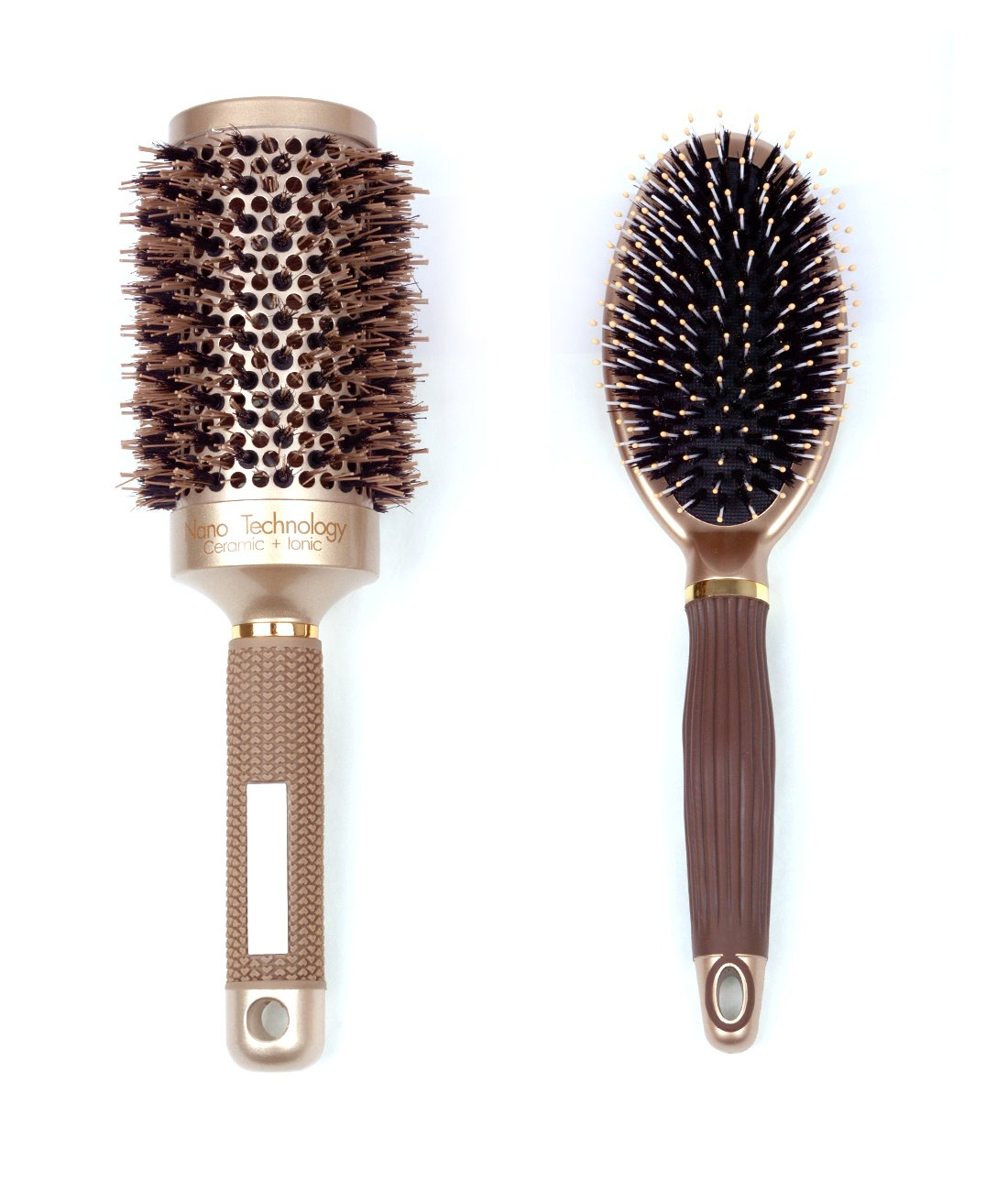 Boar Bristle Round Hair Brush Set - 1 Nano Thermal Ceramic & Ionic Round Barrel Hair Brush and 1 Boar Bristle Paddle Hair Brush, Best for Styling, Straightening, Detangling Wet, Dry, Thick, Thin Hair