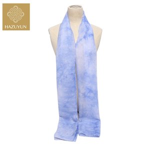 Latest Professional Wholesale Price Customized Design Light Purple Ramp Color Tie Dying Ladies Skinny Long Polyester Scarf