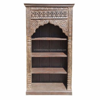 Indian Antique Style Reclaimed Wood Living Room Furniture Three Shelves  Carved Bookcase   Buy Antique Indian Style Bookcase,Hand Carved  Bookcases,Wood ...