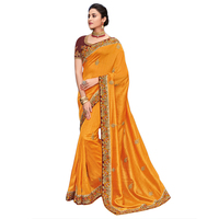 Amazing Yellow Colour Designer Silk Saree