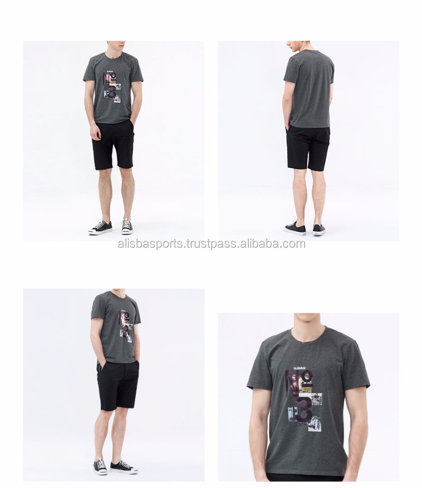 Men's O-neck Summer T-shirts Cotton Short-sleeve Printed T shirt Basic Men Clothes Top Hot Sale