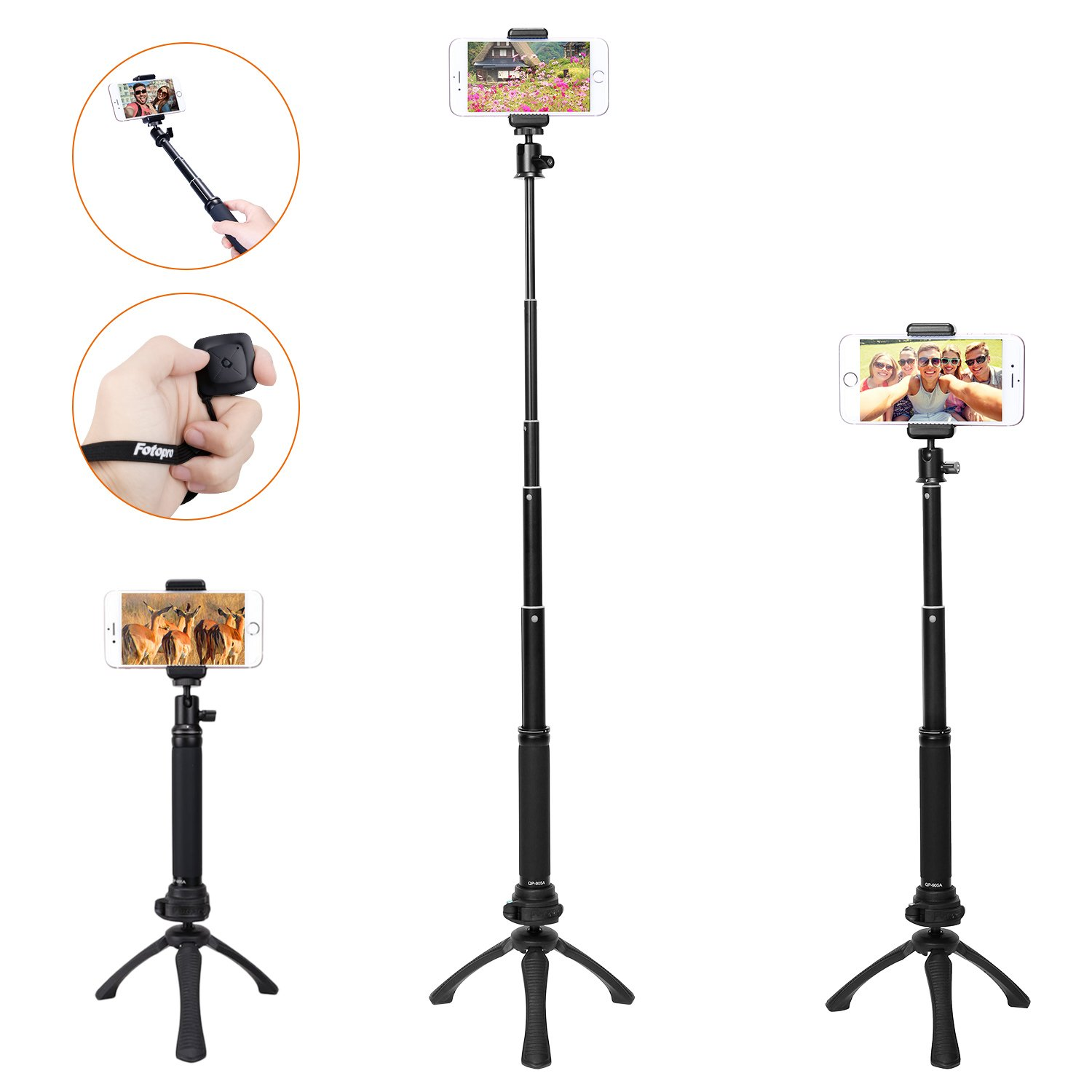 Selfie Stick, iPhone Tripod, Fotopro Selfie Stick Tripod Sets for Camera, Gopro, iPhone 7 7plus 6s 6 and Other Smartphones with Mobile Phone Adapter and Bluetooth Remote Shutter