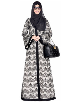 Coat Abaya Dubai Double Layer Laced Abaya Muslim Dress Islamic Clothing