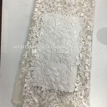 Best Selling African Style White Color French Lace Nigerian Wedding Dress Net Lace Fabrics Embroidery Polyester Fabrics