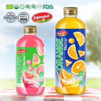 Pink Guava Nectar in Glass bottle Orange Fruit juice OEM