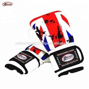 RHS UK Flag Customized Boxing Gloves with GYM Name and Logo  Red Horn Sports