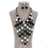 Handmade Personalized Indian Resin Black Gray Tone Layered Beads Statement Chunky Collar Women Necklace and Earrings jewelry set