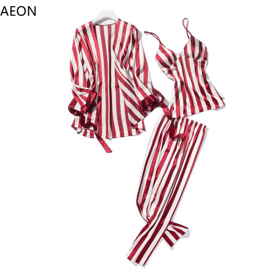 Fashion Satin Stripe bulk pajama set Women pyjamas sleepwear Satin Sleepwear for women фото