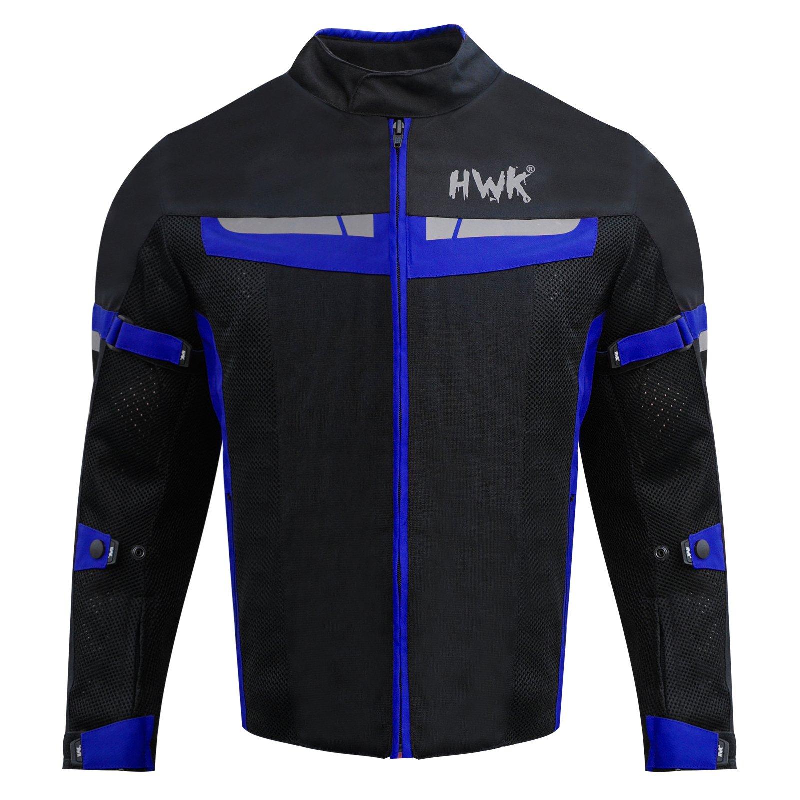 HWK Motorsports Direct Mesh Motorcycle Jacket Coat Motorbike Jacket Biker Cordura Waterproof CE Armoured Breathable 100% Waterproof Reissa Membrane 1 YEAR WARRANTY!! (X-Large, Blue)