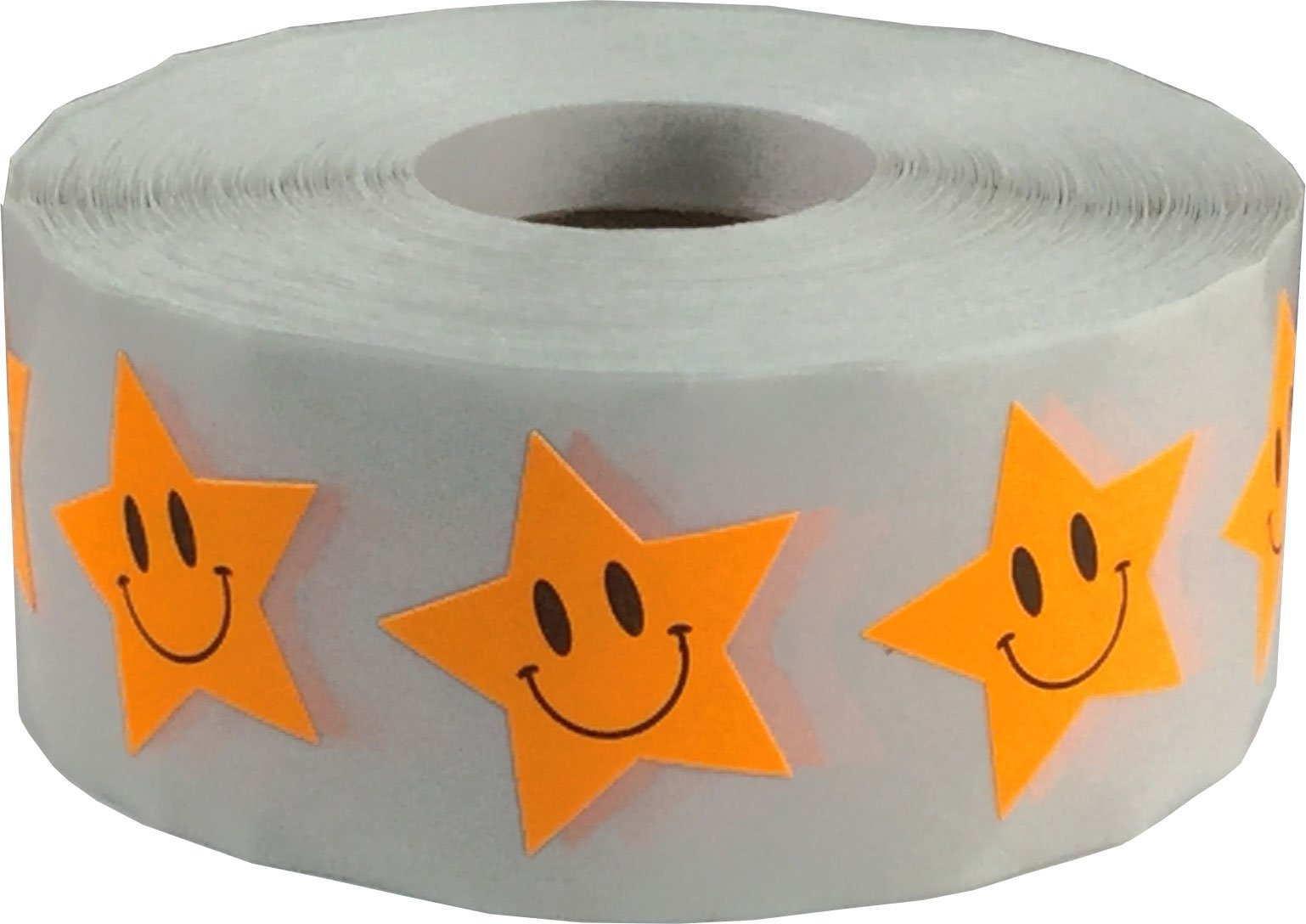 Fluorescent Orange Smiley Face Star Stickers, 1 Inch Wide, 500 Labels on a Roll
