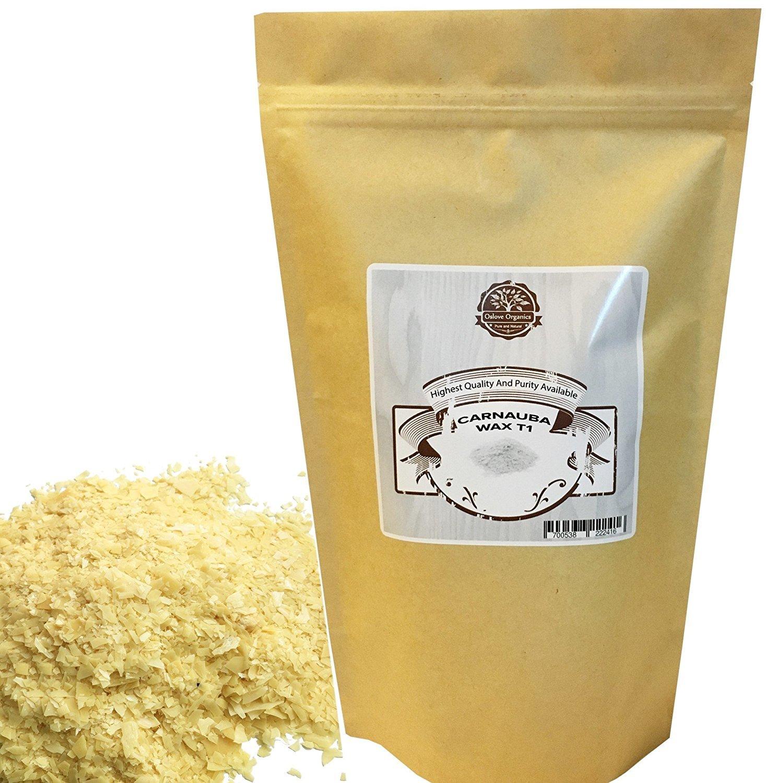 Organic Carnauba Wax Flakes 1 LB by Oslove Organics- T1 Grade, multipurpose wax.